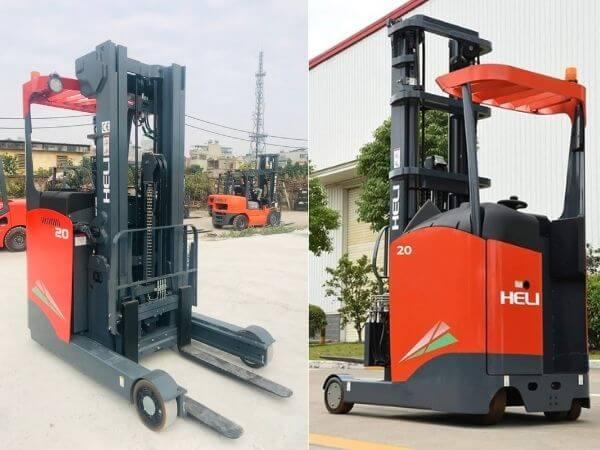 Tổng quan xe nâng reach truck đứng lái 2 tấn heli