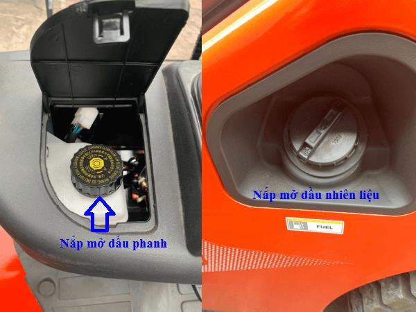 Nắp mở dầu phanh tay và dầu nhiên liệu thiết kế thuận tiện
